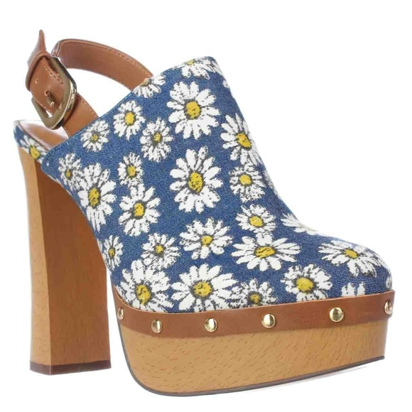 e4d5e950eee Report Mylie Blue Floral Slingback Platform Clogs